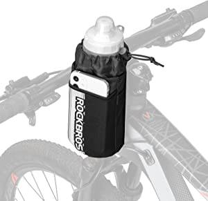 ROCKBROS Bike Water Bottle Holder Bag Bike Bag Handlebar Stem Bag Bicycle Cup Drink Holder Insulated Stem Bag Food Snack Bike Accessories Storage Pouch Bag for Mountain Road Bike