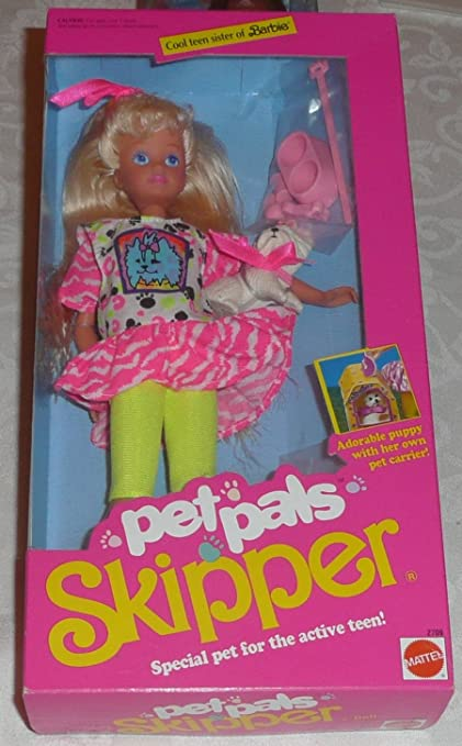NEW Barbie Sister Stacie Doll White Puppy Dog With Pink Bow /& Blue Leash