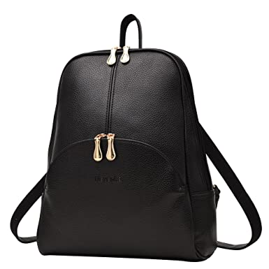 e206c89f5cf9 Amazon.com  Nevenka Brand Women Bags Backpack PU Leather Satchel Purse Casual  Backpacks Shoulder Bags (BLACK)  Clothing
