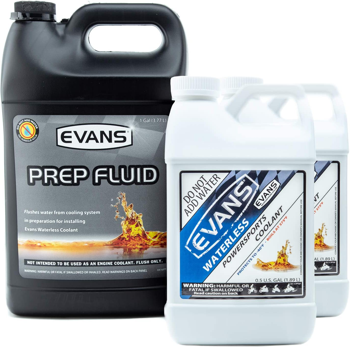 Evans Coolant EC72064 and EC42001 Powersports Waterless Coolant and Prep Fluid Combo Pack, 2 Gallon