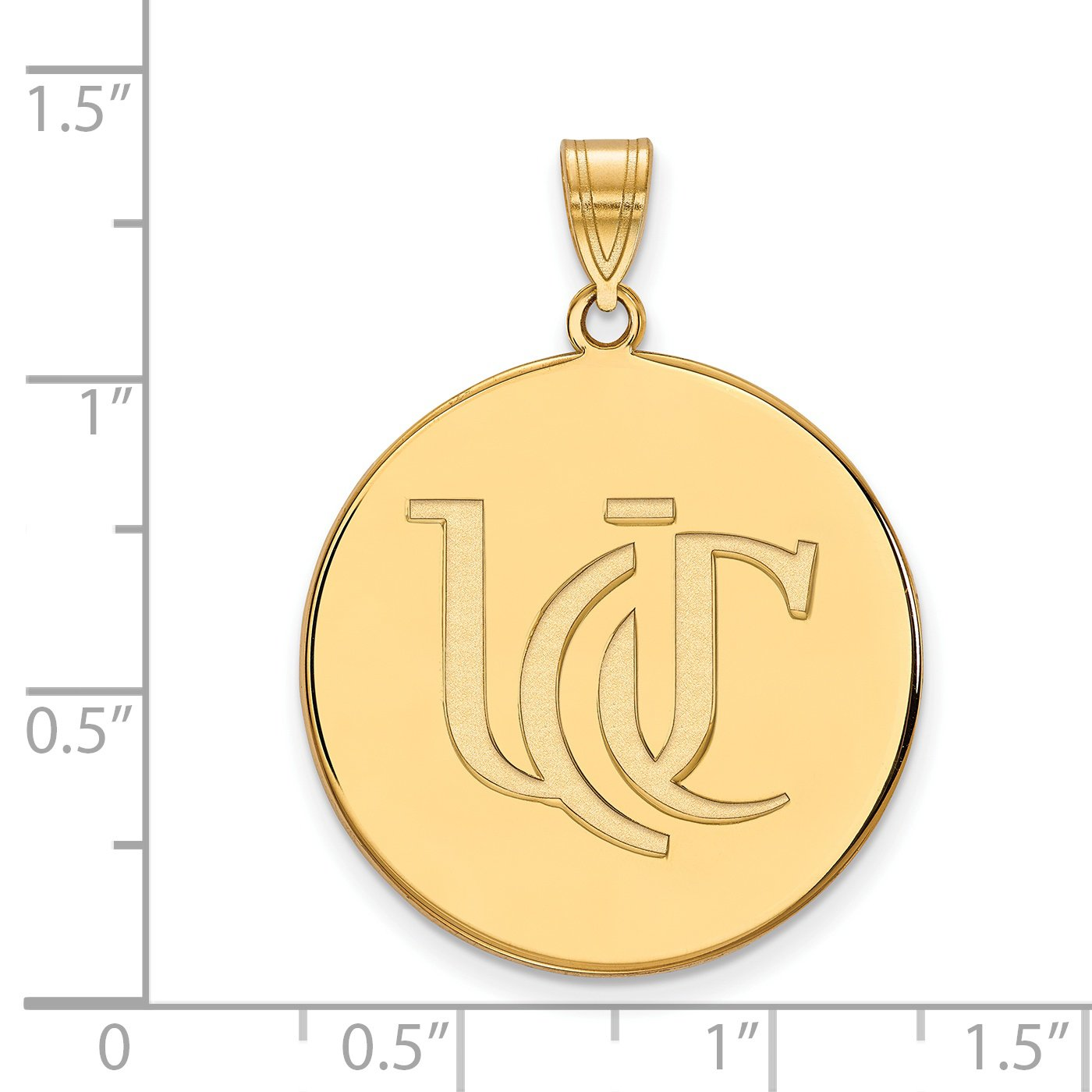 Cincinnati Bearcats School Letters Logo Disc Pendant Gold Plated Silver 26x25mm