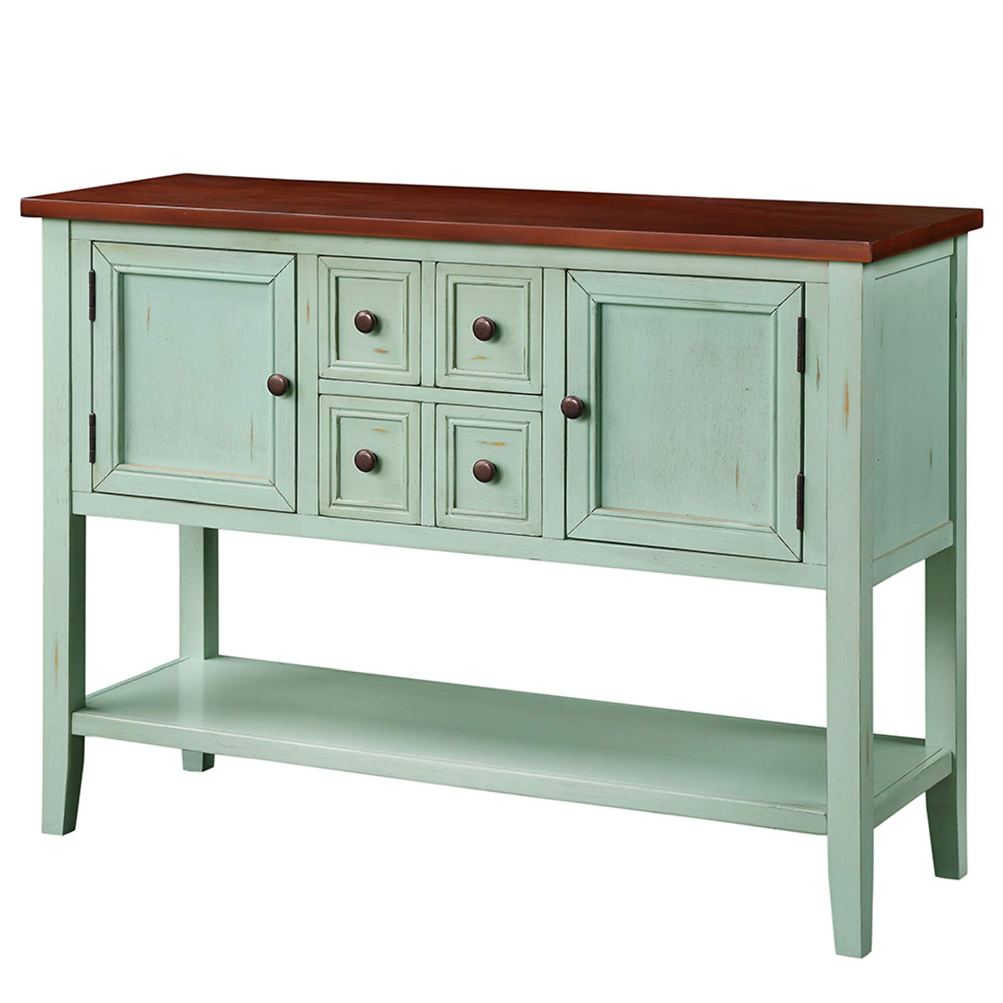 P PURLOVE Console Table Buffet Table Sideboard with Four Storage Drawers Two Cabinets and Bottom Shelf (Blue) by P PURLOVE (Image #9)