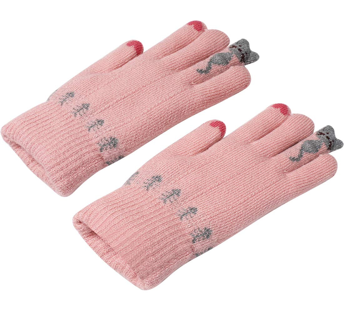 Girls Cold Weather Gloves Gray Ulstar Girls Warm Cute Cashmere//Wool Blend Winter Windproof Gloves