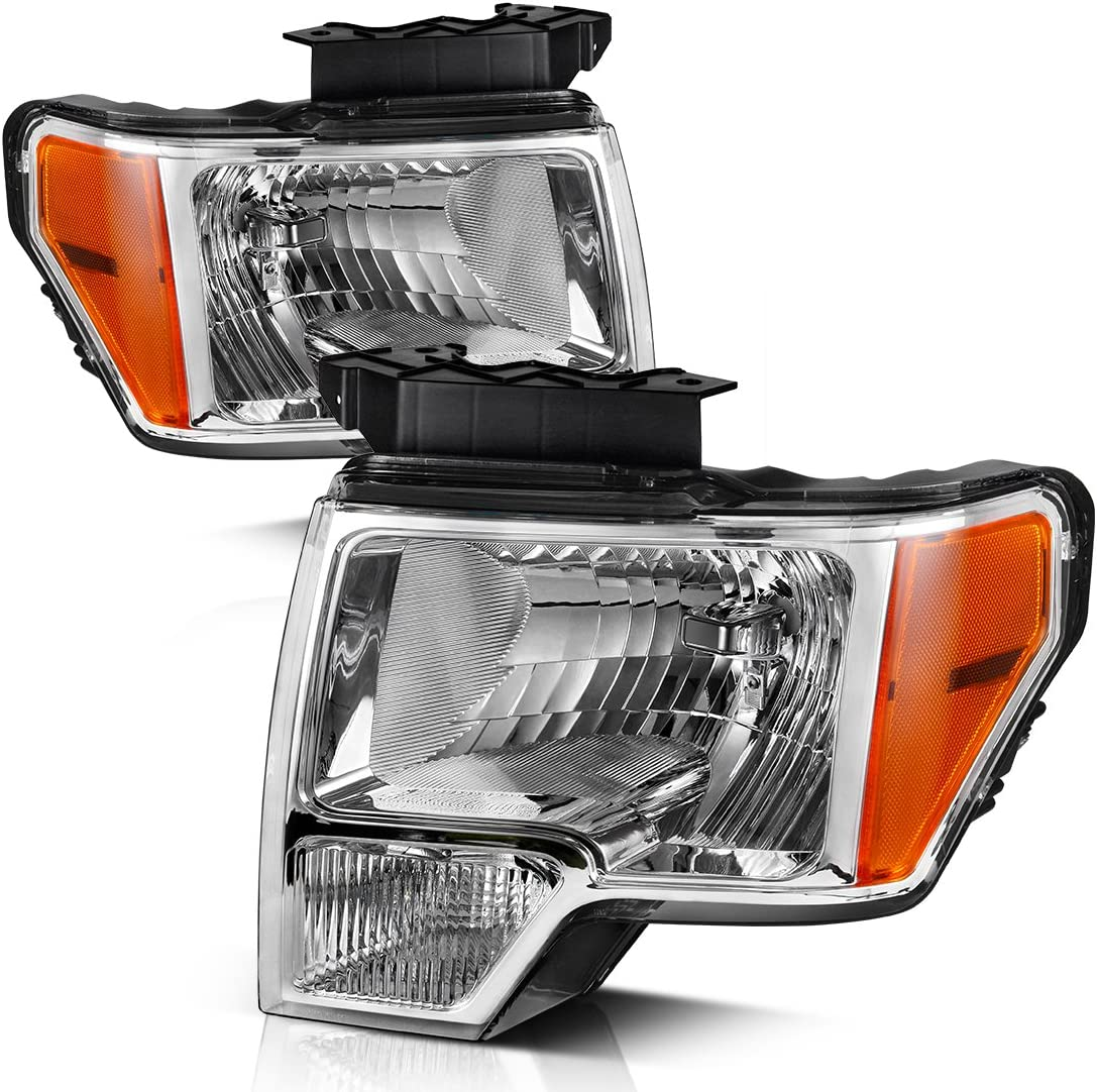 Amazon Com Autosaver88 Headlight Assembly Compatible With 2009 2014 Ford F150 Pickup Oe Direct Replacement Headlamp Chrome Housing Clear Lens With Chrome Trim Automotive