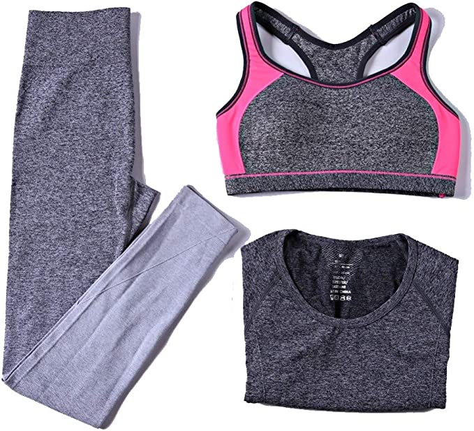 sakj-c 3 Piezas Mujer Conjuntos De Yoga Sujetador + Pantalones + Camisa Mujer Deportes Conjuntos para Gimnasio Ropa De Correr Mujer Ropa Deportiva, M: Amazon.es: Deportes y aire libre
