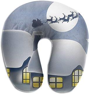 Miedhki Multifunctional Neck Pillow Snowing Christmas U-Shaped Soft Pillows Portable for Sleeping Travel New7