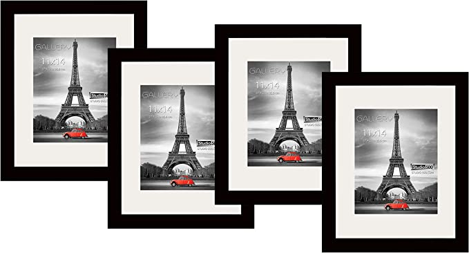 BLACK//WHITE Studio 500~Value 4 Pack 12x18 Real Wood Picture Frames w//Mat 11x17