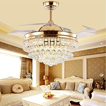 TiptonLight Modern Crystal Chandelier Ceiling Fan Lamp Folding Ceiling Fans  With Lights Chrome Ceiling Fan With