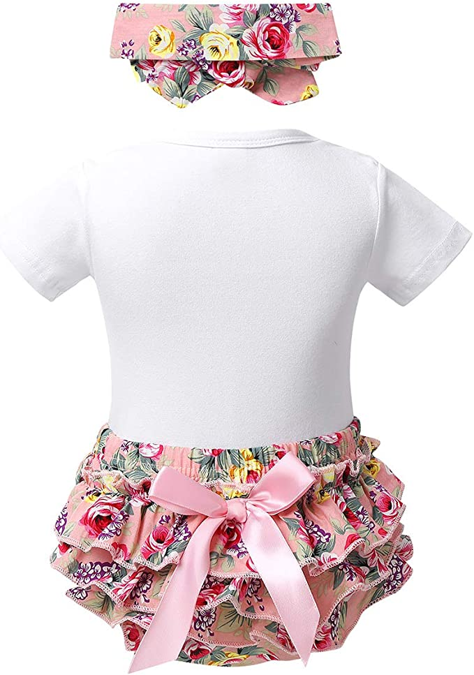 ACSUSS Infant Baby Girls First Birthday Party Outfits Shiny Short Sleeves Romper with Ruffled Bloomers Headband Set