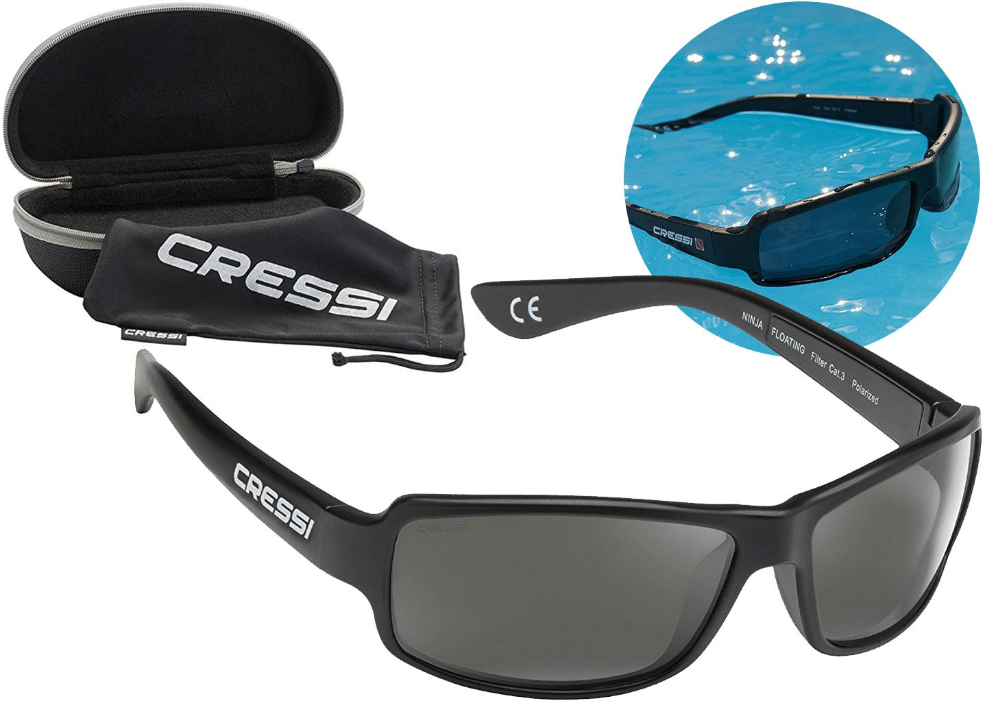 Cressi Ninja Floating, Adult Sport Buoyant Sunglasses, Polarized Lenses, Protective Case | Best for Boating, Sailing, Fishing, Water Sports, Beach ...