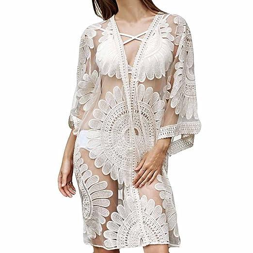 c7b7f3fd DIANA'S Smock Women Lace Lotus Long Coat Tops Suit Kimono Cover ...