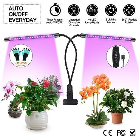 LED Lamparas para Plantas de Doble Cabeza con 360° Giratorio Dimmable 6 Niveles con 40