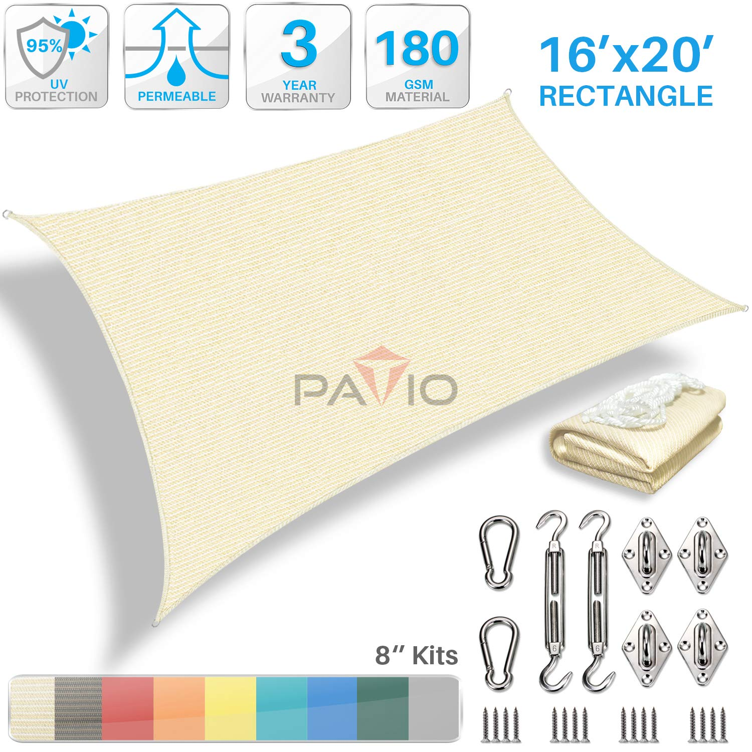Patio Paradise 16' x 20' Sun Shade Sail with 8 inch Hardware Kit, Beige Rectangle Canopy Durable Shade Fabric Outdoor UV Shelter Cover - 3 Year Warranty - Custom