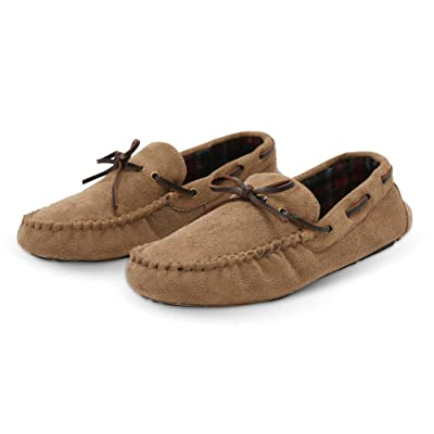 Pembrook Men's Moccasin Slippers - Micro Suede Indoor and Outdoor Non-Skid Sole - Great Plush Slip On House or Driving Shoes for Adults, Men, Boys | Slippers