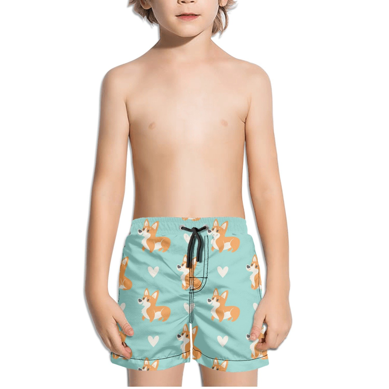 Love Corgi Cartoon Kids Boy's Fast Drying Beach Swim Trunks Pants