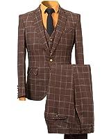 YFFUSHI Men's Plaid Tweed 3 Piece Suit Slim Fit One Button Dinner Suit Tuxedo