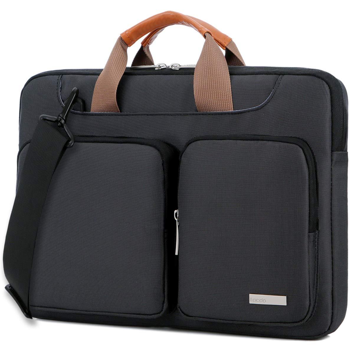 Lacdo 15.6 Inch Laptop Shoulder Bag, 360° Protective Sleeve Case Compatible Acer Aspire, Predator, Toshiba, Inspiron, ASUS P-Series, HP Pavilion, Lenovo, Chromebook Notebook Briefcases, Black