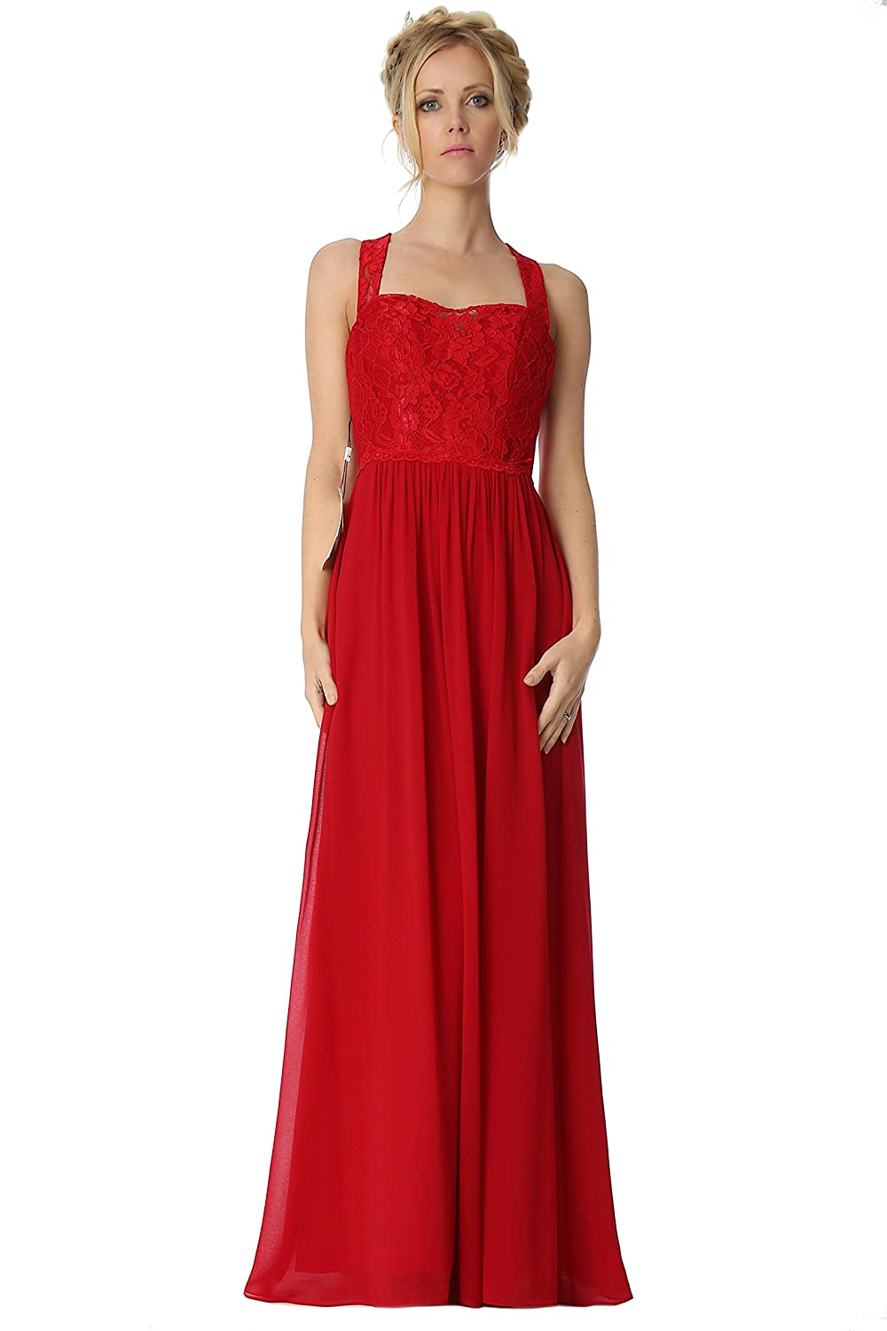 SEXYHER Halter Straps Lace Details Bridesmaids Formal Evening Dress -EDJ1765