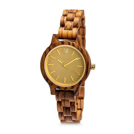 64132d3c9e08 AQUADI Reloj Fabricado en Madera analógico de Cuarzo japonés para Mujer con  Correa Fina - Aegesta