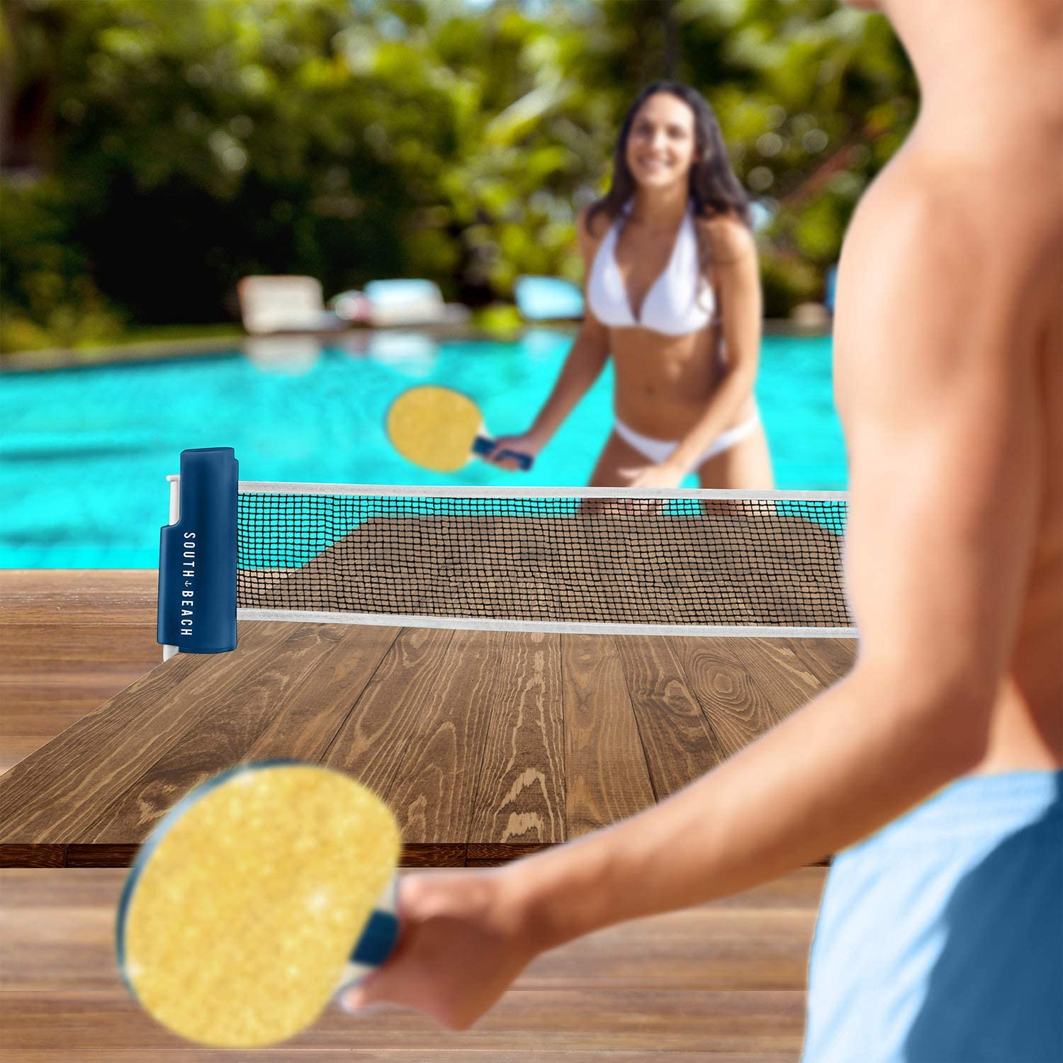 3 Ping Pong Balls Portable and Attaches to Most Tables South Beach Table Tennis Set Includes Retractable Net with Clamps /& 2 Paddles