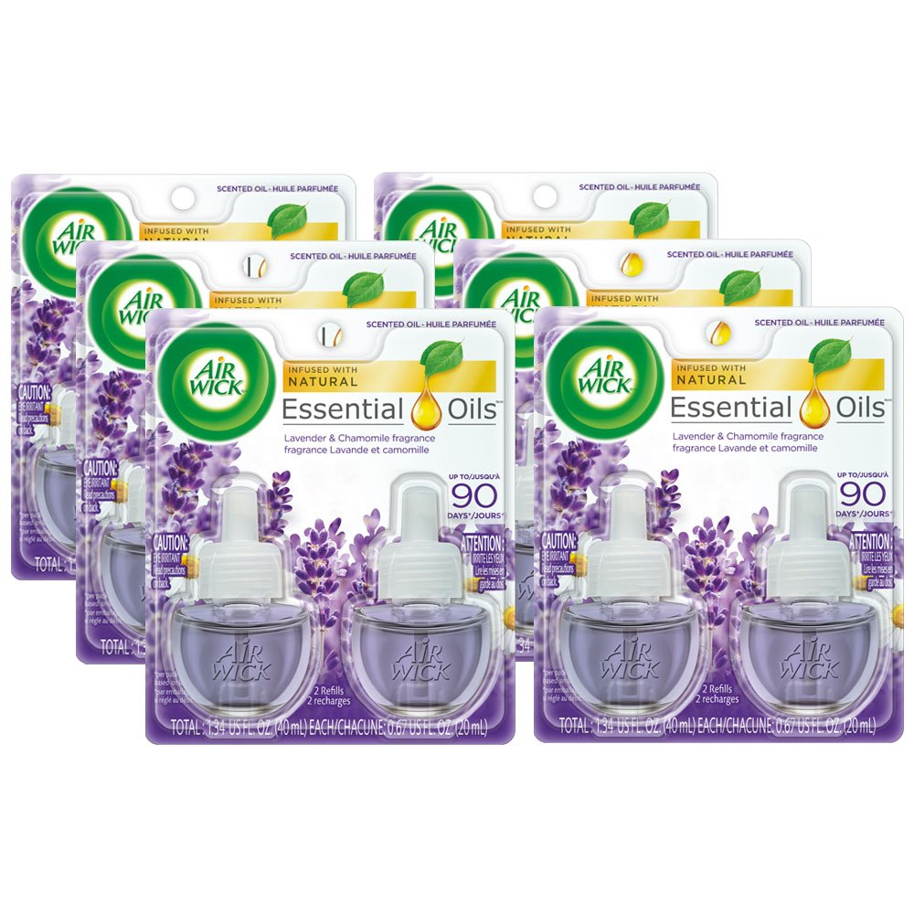 Air Wick plug in Scented Oil 12 Refills, Lavender & Chamomile, (6x2x0.67oz), Essential Oils, Air Freshener by Air Wick