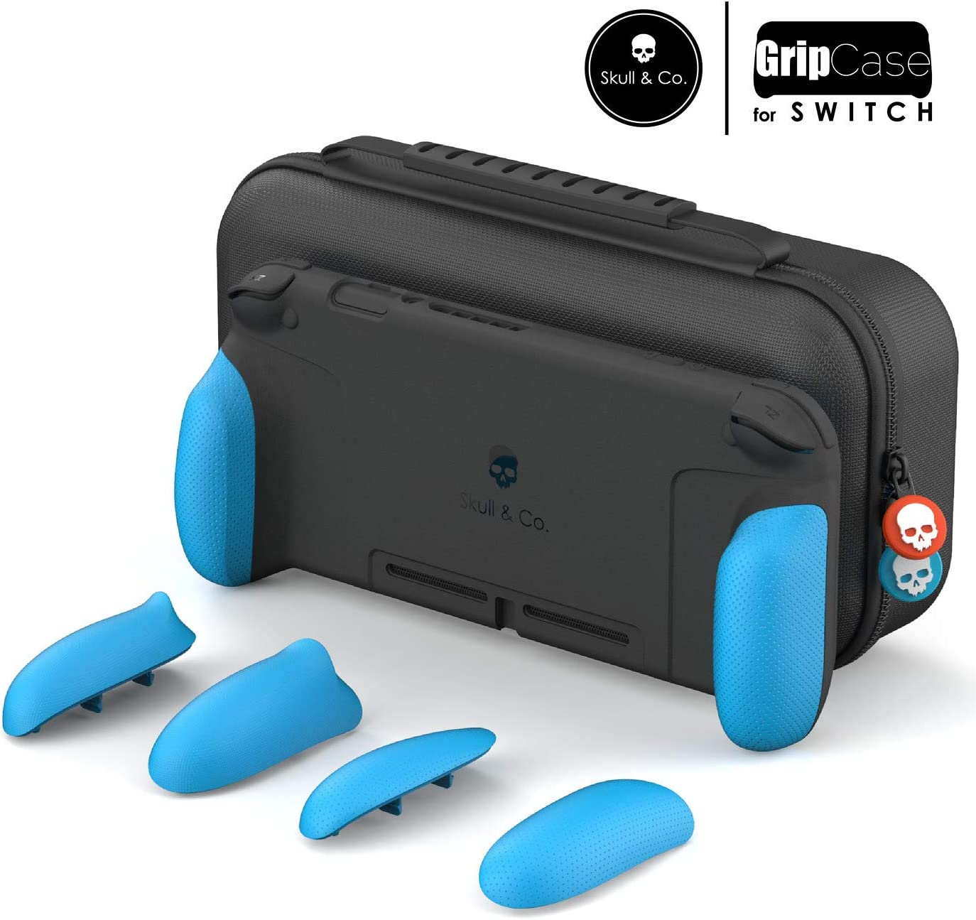 Skull & Co. GripCase Set: A Dockable Protective Case with Replaceable Grips [to fit All Hands Sizes] for Nintendo Switch - Double Neon Blue