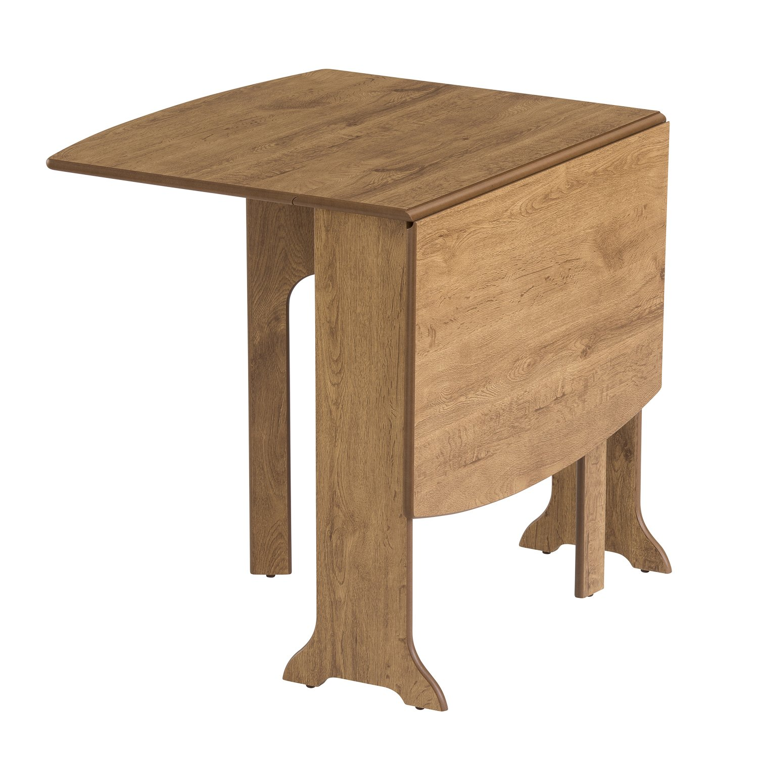 Tufftop Heat Resistant Surface 22x79X76Hcm Closed 117x79X76Hcm Open Mood Furniture HEATPROOF DEnd Gateleg Drop Leaf Table in Warm Oak Dining or Kitchen Seats 6 Folding Table for Small Spaces