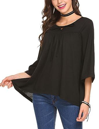 c7e1863c92 SoTeer Women's Boho Women's Ruffle Hem Babydoll Shirts Blouses Tops ...