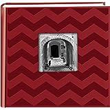 Pioneer Photo Albums DA-200CVR 200-Pocket Chevron Embossed Frame Leatherette Photo Album, 4 by 6-Inch, Red