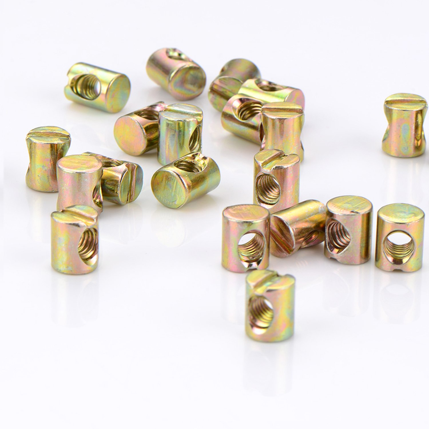Kenkio 24 Pieces M6 Barrel Nuts Cross Dowels Slotted Nuts for Furniture Beds Crib Chairs