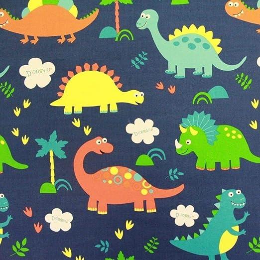 Tela de lona azul de dinosaurios, 100 % algodón, por metro: Amazon.es: Hogar