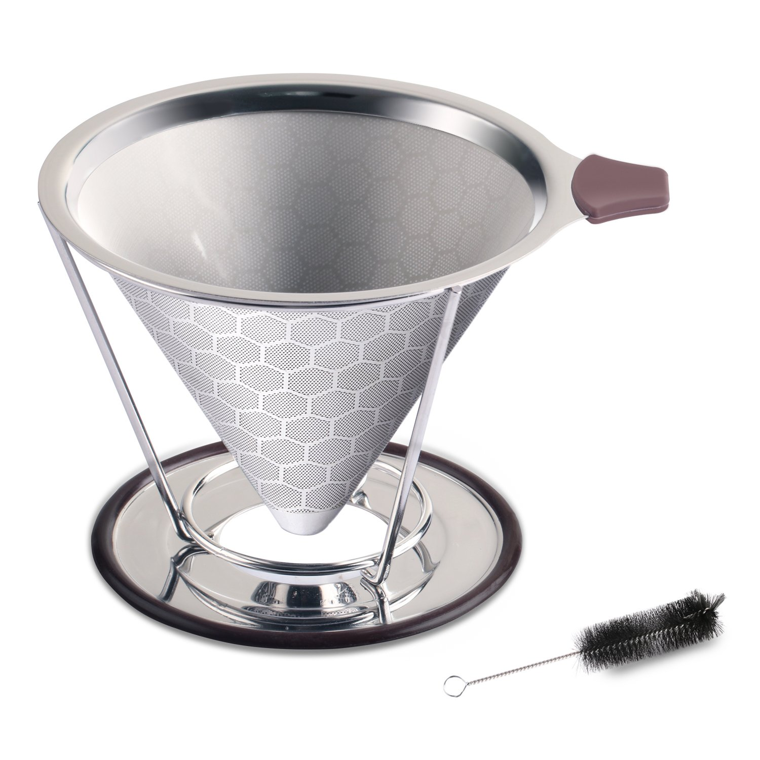 Pour Over Coffee Dripper Set,Paperless Permanent Coffee Filter for Home Travel,Reusable Manual Coffee Maker Father's Day,Stainless Steel Coffee Brewer with Pot Mug Cup Stand and Gift Box