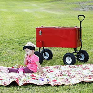 """Clevr 80 Quart Wagon Cooler Rolling Party Ice Chest, Red, w/Long Handle and 10"""" Large All Terrain Wheels, 80 Qt Beach Patio Pool Party Bar Cold Drink Beverage Chest, Outdoor Park Cart on Wheels"""
