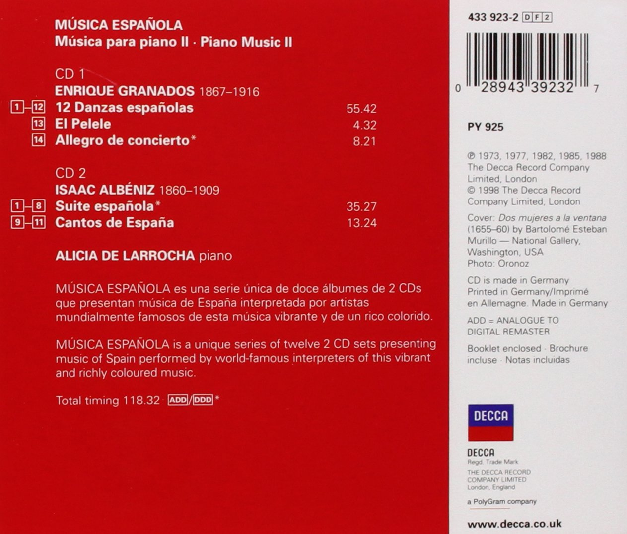 Spanish Music for Piano II - Albéniz/Granados: Alicia de Larrocha: Amazon.es: Música