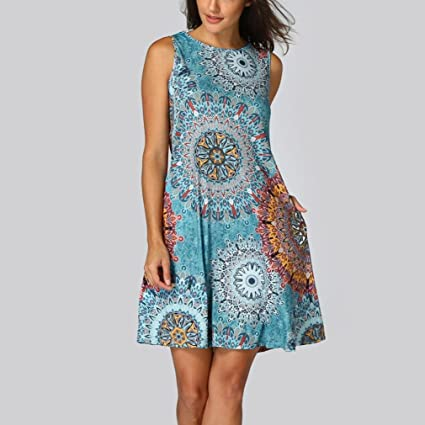 Womens Long Sleeve Dress, kaifongfu Vintage Boho Maxi Evening Party Beach Floral Dress for Ladies Print Dress at Amazon Womens Clothing store: