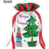 "Christmas Gift Bags Medium,Santa Bag Plastic Set with Drawstring Ribbons10.5""×14.5"" -6 Pieces"