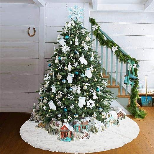 Lacyie Falda para árbol de Navidad 41 Pulgadas Base Redonda Blanca ...
