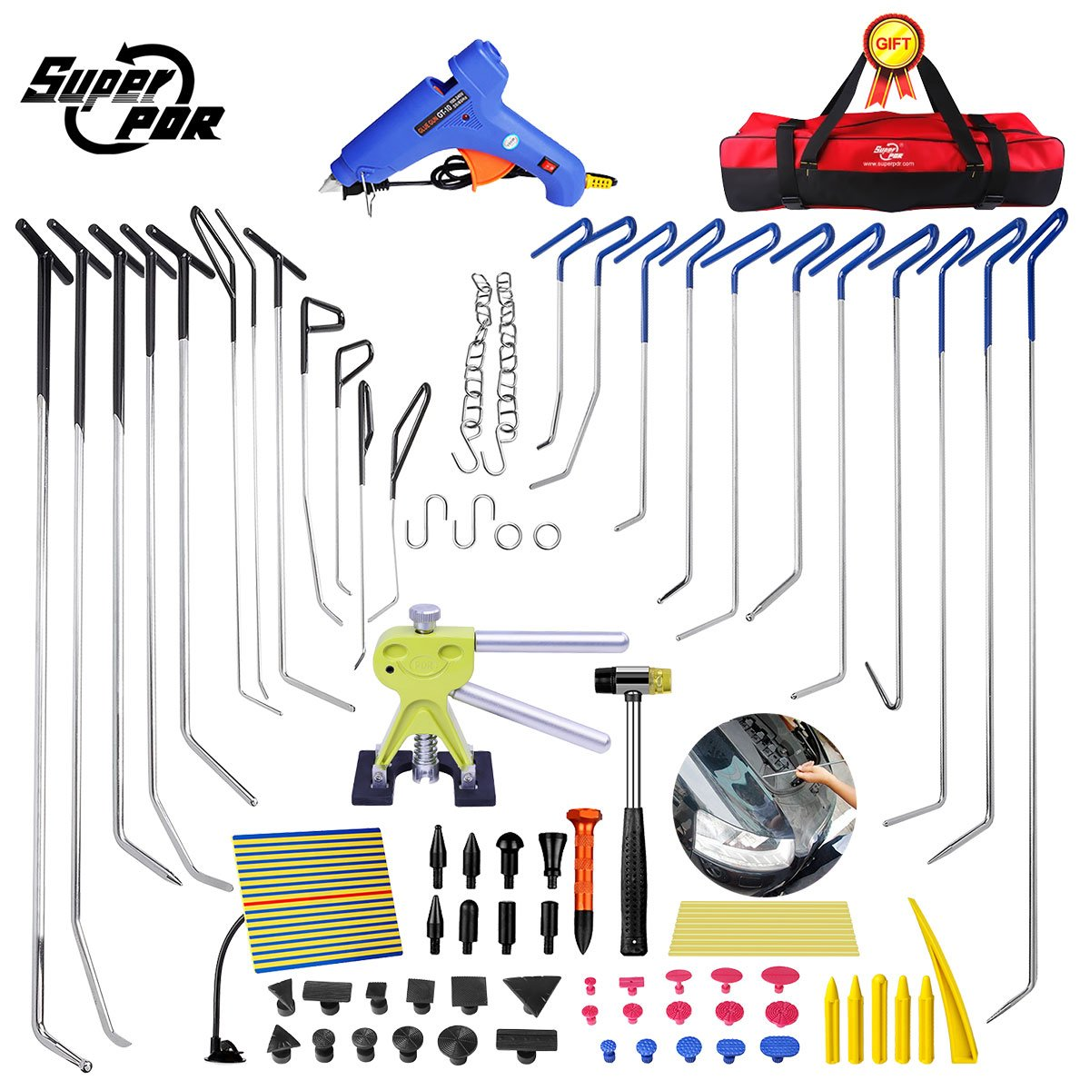 Super PDR 78Pcs Professional PDR Rods Car Auto Body Paintless Dent Remover Repair Hail Damage Removal Tools Dent Puller Lifter Kit