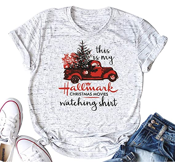 1ec929b1 Women This is My Hallmark Christmas Movie Watching Shirts Funny Red Truck  Christmas Tree Cute Tee Tops Blouse at Amazon Women's Clothing store: