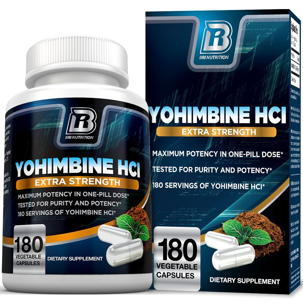 BRI Nutrition Yohimbine HCI - 2.5mg Yohimbe HCL Supplement Natural Metabolism Booster for Fat Burning, Weight Loss and Enhanced Performance 180 Veggie Capsules