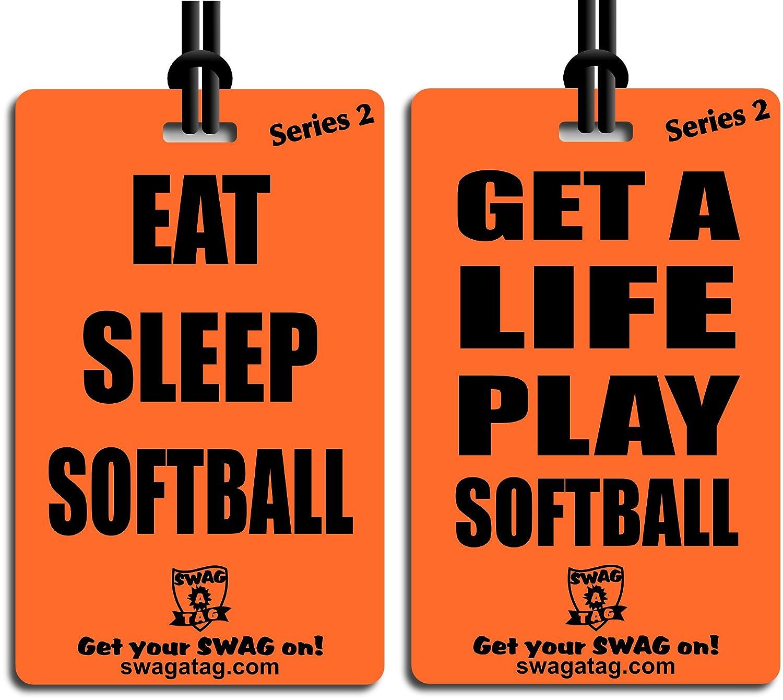Eat Sleepソフトボール/ Get A Life Play Softball タグforスポーツバッグまたはバックパック B00QEBY7Y4