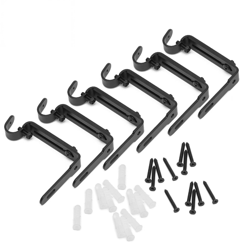 GrayBunny GB-6809 Adjustable Curtain Rod Wall Bracket, Set of 4, Black, Premium Steel Drapery Rod Bracket for Walls, Curtain Rod Holder… Curtain Rod Holder...