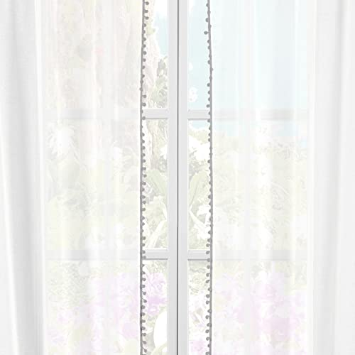 White Grey Pom Pom Pole Top Window Curtain Pair Panel Drapes For Bedroom, Livingroom, Kids, Children, Nursery – Assorted Colors – 38 by 84 Inches, Set of 2 Panels