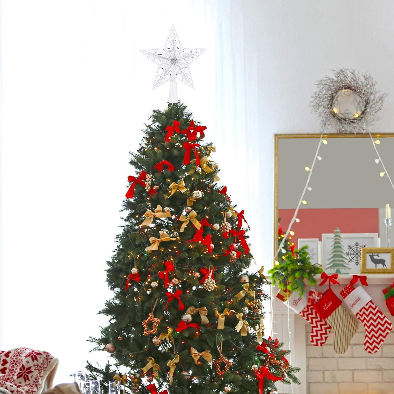 Ohne Akku SOLUSTRE 2 St/ück Weihnachtsbaumspitze LED Weihnachtsstern Beleuchtet Weihnachten Beleuchtung Acryl Christbaumspitze Baumspitze Baumschmuck Spitze Weihnachtsbaum Stern f/ür Xmas Deko
