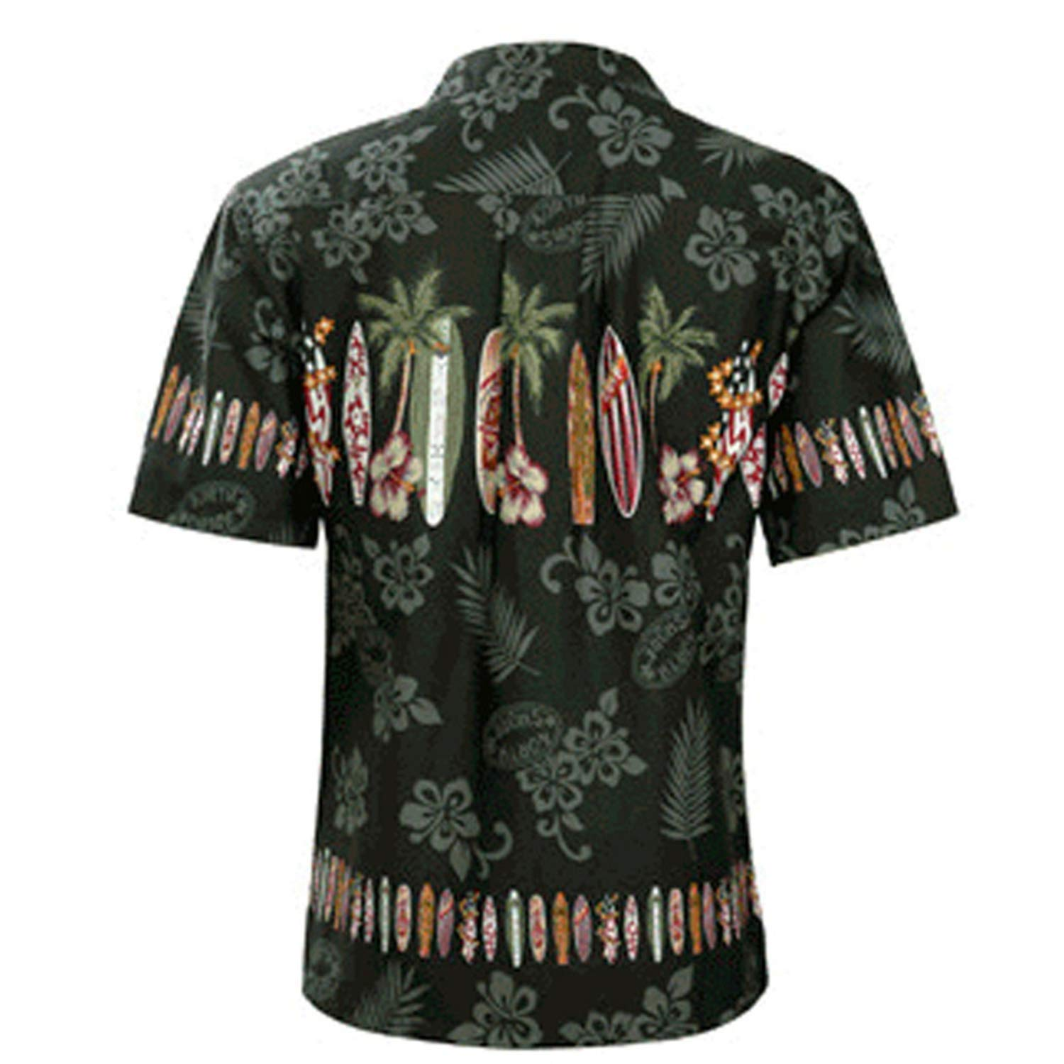 Fashion Shirt Dress Tropical Hawaiian Tops Chic Summer Mens Shirts Printed Floral Short Sleeve Lapel Loose Button Red-XXXL