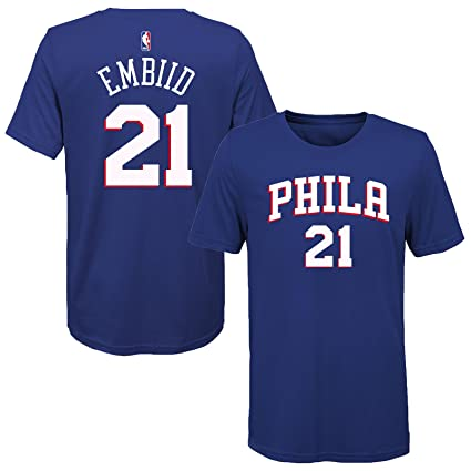 4ef35b291 Outerstuff Joel Embiid Philadelphia 76ers Blue Youth Name   Number T-Shirt  (Small 8