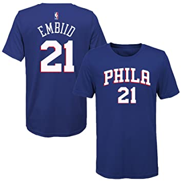 quality design d80b1 0a96a Outerstuff Joel Embiid Philadelphia 76ers Blue Youth Name & Number T-Shirt