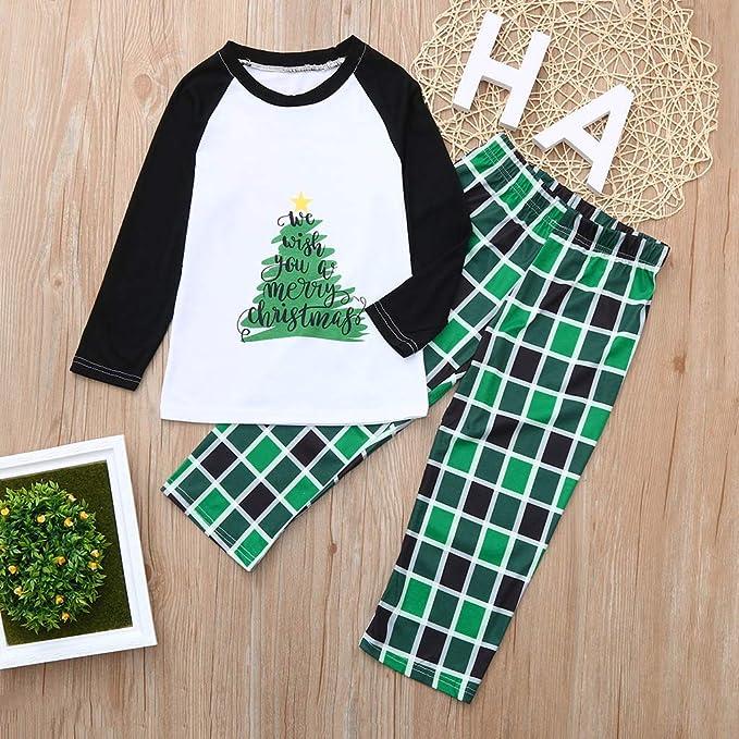 Amazon.com  GzxtLTX Family Christmas Matching Pajama Set with Baby Xmas  Tree Letter Printed We Wish You a Merry Christmas Plaid Sleepwear  Clothing e1739bf90
