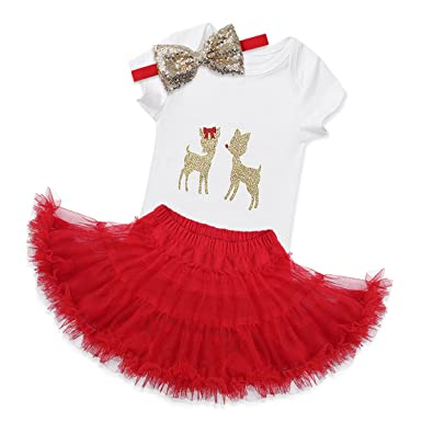 feeshow infant baby girls my first christmas outfits romper with tutu skirt headband set 3