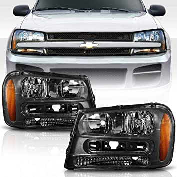 Headlight Assembly Replacement for 2002-2009 Chevy Chevrolet Trailblazer Black Housing Headlamps Set with Driver Passenger Side Black